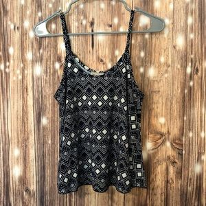 Dark Blue and White Patterned Tank Top